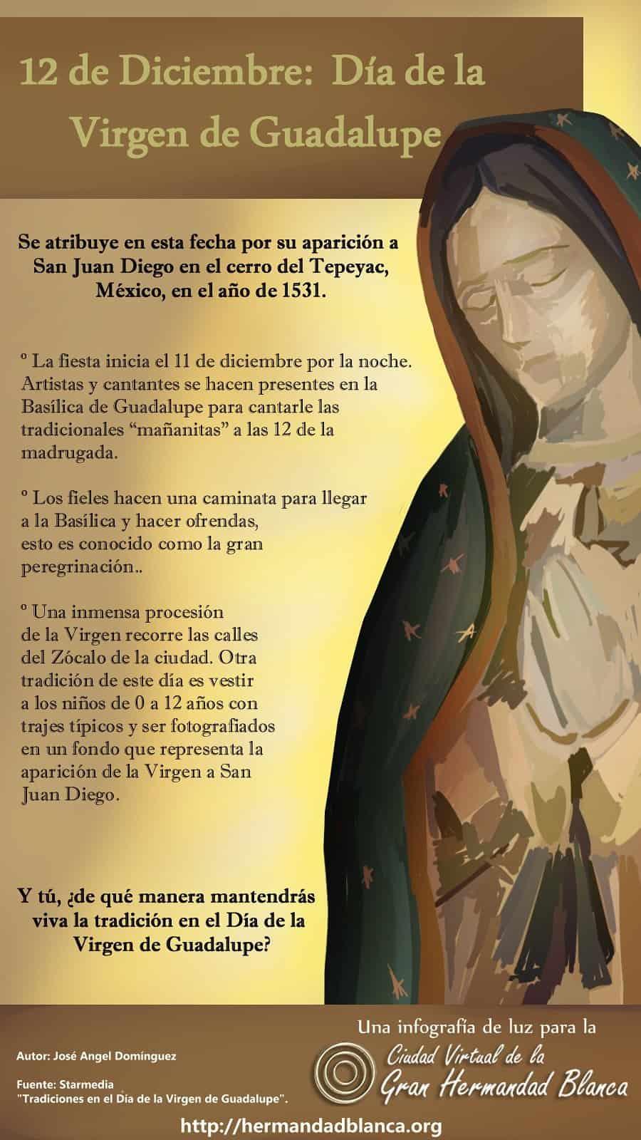 Infografía: 12 de Diciembre Día de la Virgen de Guadalupe.
