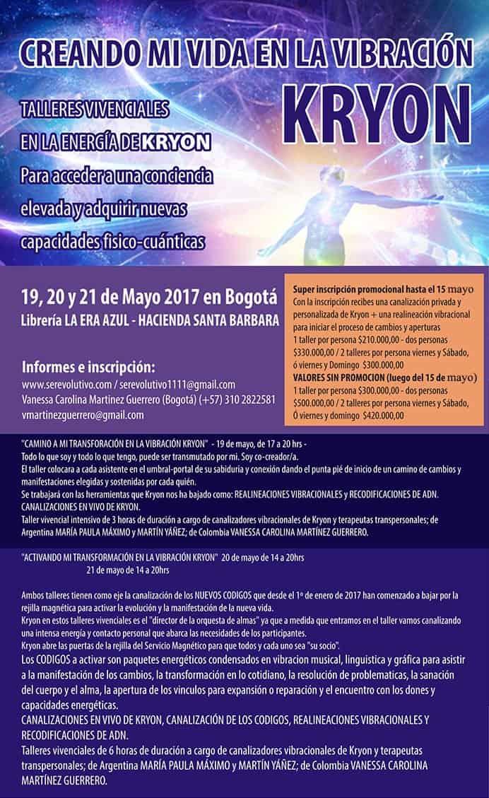 20170420 jorge id124862 serevolutivo flyer colombia completo - Talleres vibracionales en la energía Kryon para la transformación amorosa y consciente. 19, 20 y 21 de Mayo 2017 en Bogota - hermandadblanca.org