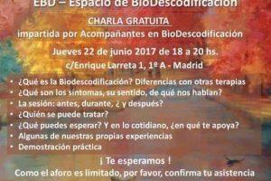 Charla gratuita: DB Espacio Azul – Biodescodificación en Madrid (escuela francesa) Madrid – 22 junio 2017