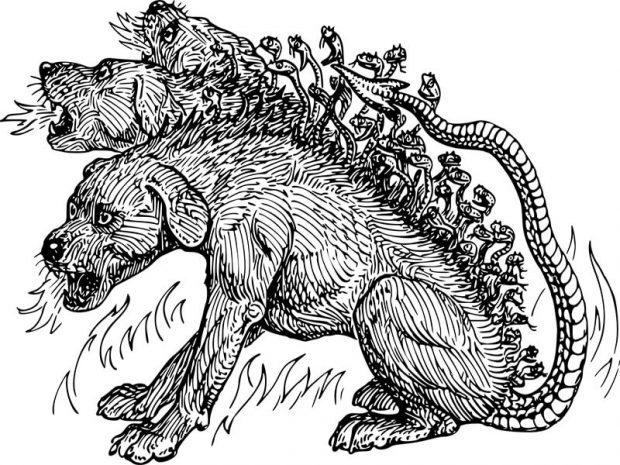 Cerbero, monstruo en los nueve círculos del infierno