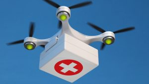 drone quadcopter carrying first aid kit
